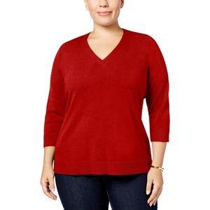 Karen Scott Luxsoft V Neck Sweater Pullover 1X Red